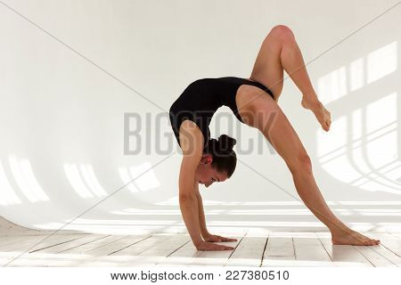 Girl Training On Aerial Silks