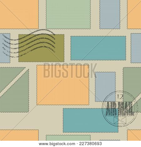 Vector Seamless Pattern. Postage Stamps Of Different Shapes And Sizes And Colors On A Brown Backgrou