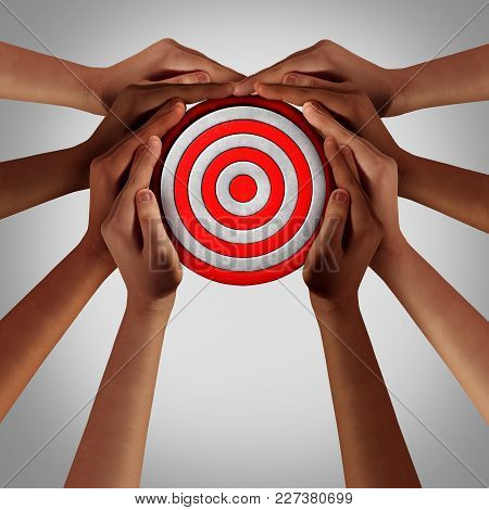 Social Goal And Society Common Strategy As A A Group Of Diverse Hands Holding A Target As A Business