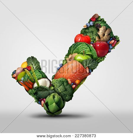 Approved Healthy Food And A Symbol For Raw Organic Fresh Food As A Check Mark Shaped With Vegetables