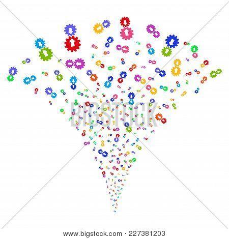Multicolored Integration Festive Fountain. Object Fountain Combined From Random Integration Design E