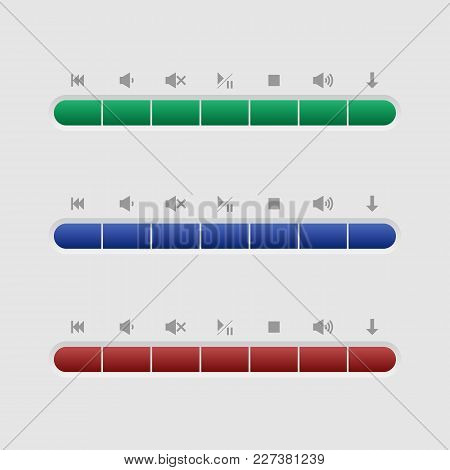 Music Buttons For Web Interface. Color Buttons For Music Management. Buttons For Media Player.