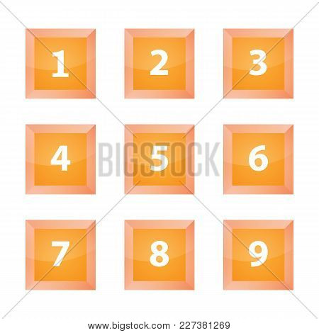 Square Orange Numbering Buttons. Vector Buttons, Numbers.