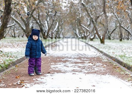 Emotions In The Child's View, Confusion And Sadness In The Eyes Of The Child. Late Autumn And The Fi