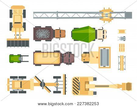 Construction Machines - Set Of Modern Vector Elements Isolated On White Background For Creating Your