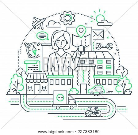 Businesswoman - Modern Line Design Style Illustration On White Background. Cute Character Surrounded