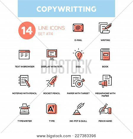 Copywriting - Line Design Icons Set. E-mail, Writing, Text In Browser, Display, Idea, Book, Notepad