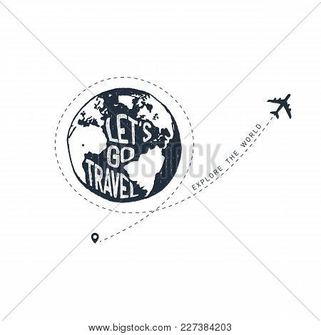 Hand Drawn Travel Badge With Textured Vector Illustration.