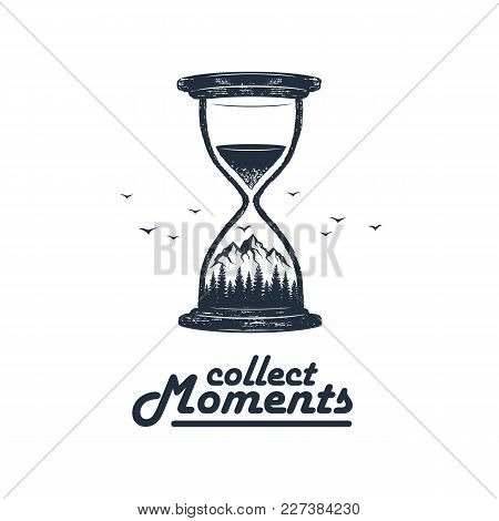 Hand Drawn Travel Badge With Mountains And Pine Trees In An Hourglass Textured Vector Illustration A
