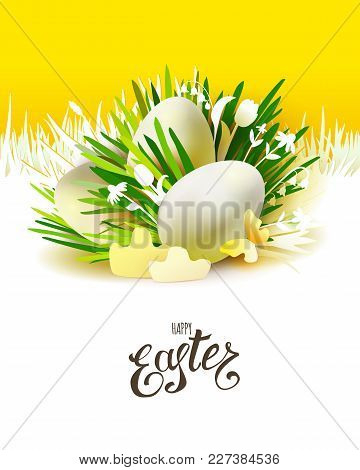 Stylish Abstract Poster With Realistic 3d Easter Eggs And Holiday Symbols Cut Paper Art Elements - G