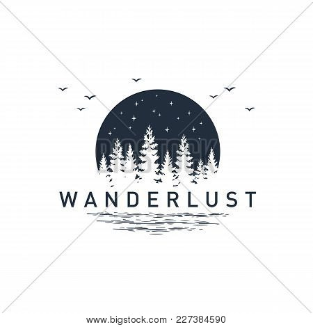 Hand Drawn Travel Badge With Pine Trees Textured Vector Illustration And