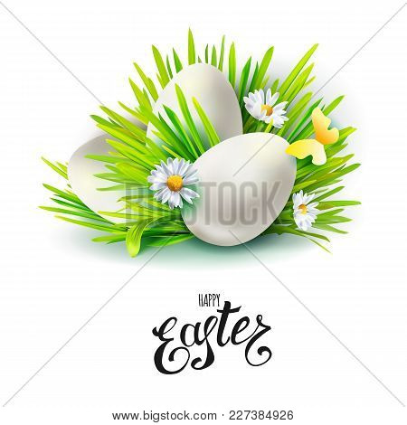 Card With Realistic 3d Green Easter Eggs And Holiday Symbols Cut Out Paper Art Elements - Grass, Man