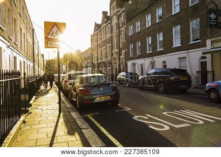 London, England - October 25 2017: Traffic Sign - School Warning Sign- In London. Streets At Sunset.