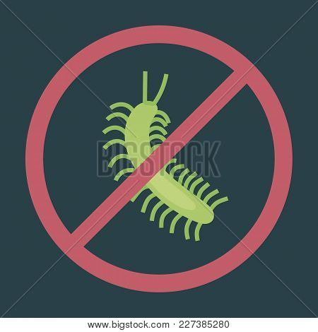 Green Centipede On Dark Background Bright Red Circle Warning Sign