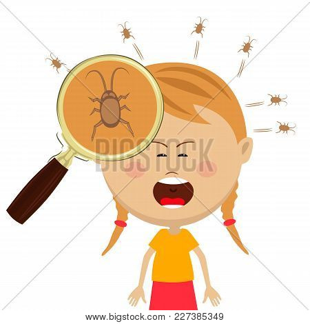 Magnifying Glass Shows Lice In The Head Of Cryng Little Girl On White
