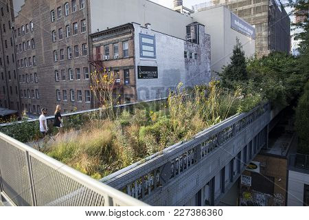 New York - Usa - August 31, 2017: Unidentified People At High Line In New York City. It Is 2,33km Lo