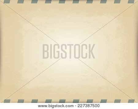 Vector Horizontal Background Of Old Beige Postal Paper. Imitation Of The Old Printing Press. Slanted
