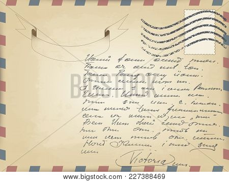 Vector Realistic Old Vintage Card Template With Slanted Lines On The Edges Of Red And Blue. Waving S
