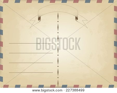 Vector Realistic Old Vintage Card Template With Slanted Lines On The Edges Of Red And Blue. Waving A