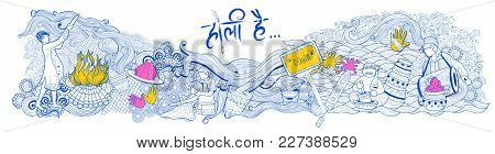 Illustration Of Colorful Doodle Background For Festival Of Colors Celebration With Message In Hindi