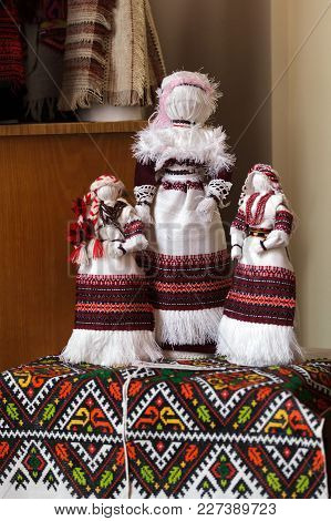 Handmade Textile Doll Ancient Culture Folk Crafts Tradition Of Ukraine. Most Popular Souvenirs From