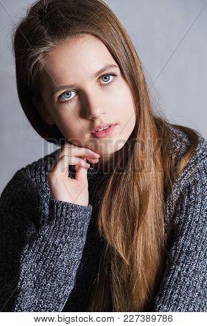 Closeup Portrait Teenager Girl. Portrait Fashion Beautiful Teen Girl. Beauty Face Young Caucasian Fe
