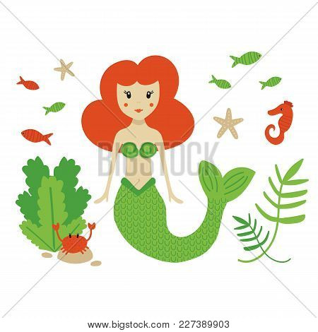 Cute Cartoon Sea Life Set, Collection With Mermaid, Seahorse, Sea Stars, Crab And Different Fishes A