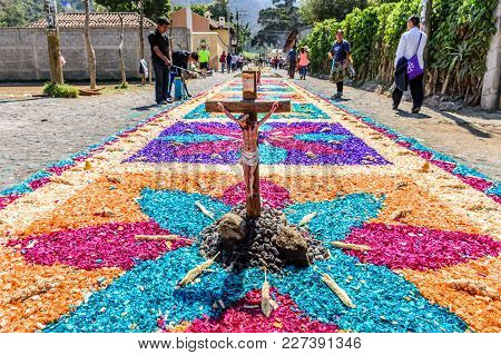 Antigua, Guatemala -  April 13, 2017: Holy Thursday Dyed Sawdust Procession Carpet In Town With Most