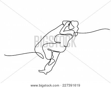 Continuous Line Drawing. Happy Pregnant Woman Sleeping With Special Pillow, Silhouette Picture. Vect