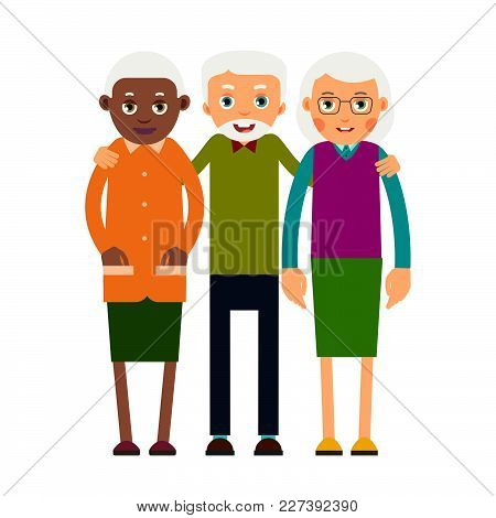 Group Older People. Three Aged People Black And White. Elderly Men And Women Stand Together And Hug