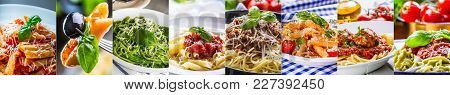 Pasta Collage. Selection Of Different Italian Pasta Dishes - Spaghetti Pene Macaroni Farfalle Pappar