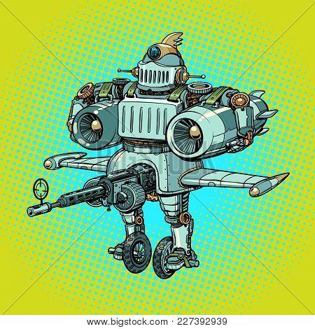 Ridiculous Funny Battle Military Robot In Retro Style. Comic Book Cartoon Pop Art Retro Vector Illus