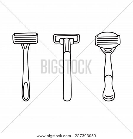 Set Of Three Disposable Shaving Razors, Hair Removal Tools, Line Art, Linear Drawing, Vector Illustr