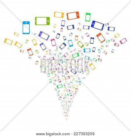 Multicolored Smartphone Festive Fountain. Object Fountain Made From Random Smartphone Symbols As Fir