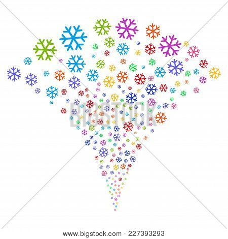 Multi Colored Snowflake Explosion Fountain. Object Fountain Done From Random Snowflake Pictograms As
