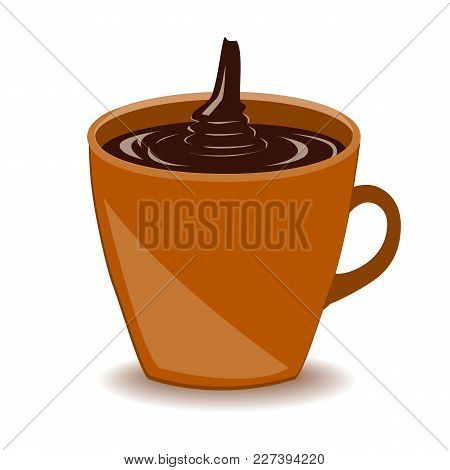 Mug Of Hot Molten Chocolate Drink Isolated On White Background. Vector Icon