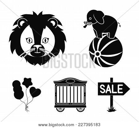 Elephant On The Ball, Circus Trailer, Circus Lion, Balls.circus Set Collection Icons In Black Style