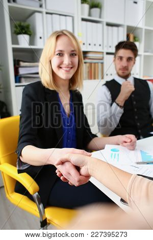 Businessman And Woman Shake Hands As Hello In Office Closeup. Friend Welcome Introduction Greet Or T
