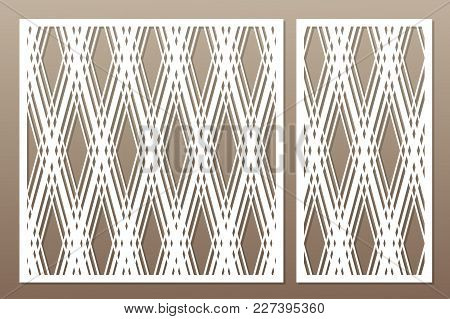 Template For Cutting. Geometric Line, Square Pattern. Laser Cut. Set Ratio 1:1, 1:2. Vector Illustra