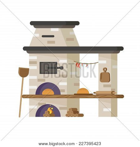 Oven For Baking Bread Or Pizza. Vector In Flat Style.