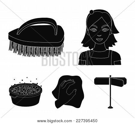 A Cleaning Woman, A Housewife In An Apron, A Green Brush, A Hand With A Rag, A Blue Wash Hand Basin