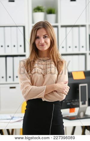 Beautiful Smiling Girl At Workplace Look In Camera Portrait. White Collar Dress Code Worker At Works