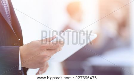 closeup.businessman with tablet computer