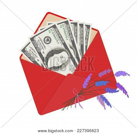 Usa Banking Currency In Open Red Envelope With Bouquet Of Lavender. One Hundred Dollar Bills As Gift