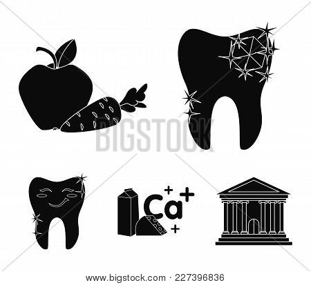 A Tooth With Brilliant Sparkling, An Apple With Carrots Useful For Teeth, Milk In A Box, Cheese And