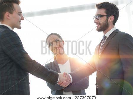 reliable handshake of business people