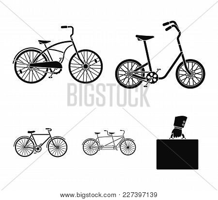 Children's Bicycle, A Double Tandem And Other Types.different Bicycles Set Collection Icons In Black