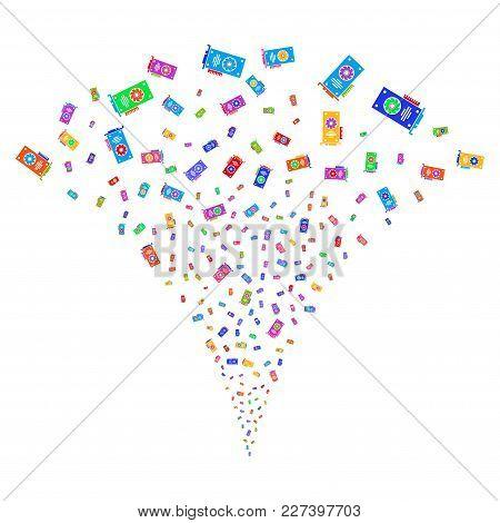 Multicolored Video Gpu Card Explosion Fountain. Object Fountain Done From Random Video Gpu Card Pict