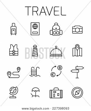 Travel Related Vector Icon Set. Well-crafted Sign In Thin Line Style With Editable Stroke. Vector Sy