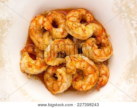 Shrimp Fried In Oil. Peeled Tails Of Shrimp Langoustine Fried In A Deep Dish.